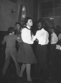 Fancy dress party, negro costume, 1950s