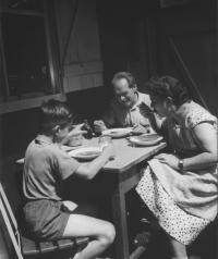 With his parents, Čeladná 1958