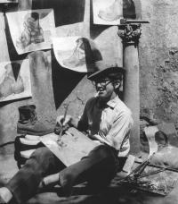 In the yard of the sculptor Kavan, 1964