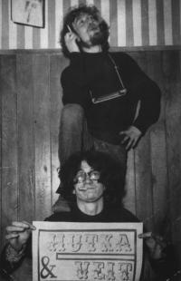 Jaroslav Hutka with Vladimír Veit, linocut of a poster in Time Club, Francouzská Street, Prague, 1967