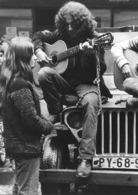 Zorka Růžová, Jaroslav Hutka and Petr Kalandra in an off-road car for travelling concerts in Prague, 1968