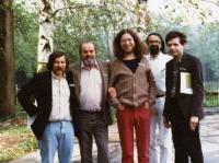 From the left: Jiří Pallas, Pavel Tigrid, Jaroslav Hutka, Karel Trinkiewicz, and Alexandr Tomský, Bavaria 1985