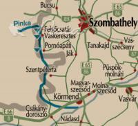 The Pinka stream across the border (map)