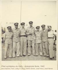 Before trip to Haifa - officer's school, 1942 ((from left Fredinand Lustig, František Nový, Oldřich Zeman, Josef Hercz, Josef Němec)