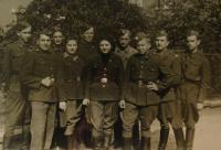 Josef Holec as first from right side, Naděžda Brůhová the fourth from left side