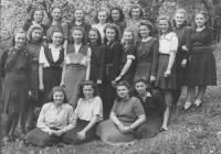 Schoolmates from the Vocational school of women´s professions. Prague, 1947. Mrs. Františka is in the upper row, second from the left