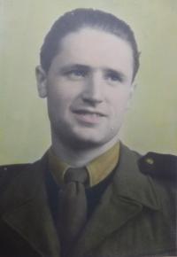 Future husband Otta Jeřábek (in PTP uniform, 1950-1953)