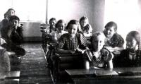 At school, Ruth is the fifth from the right