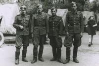 Commanders of artillery battery, 1st artillery regiment, Michal Javorcak is second from the left, 1945