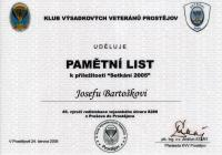 Commemorative list from Parachute veterans Club Prostějov (2005)