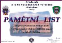 Commemorative list from Parachute veterans Club Holešov (2009)