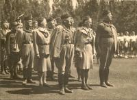 Public Sokol exercises in Kostelec na Hane in 1947 - father on right