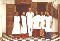 Mr. Giboda with laboratory technicians from Takeo