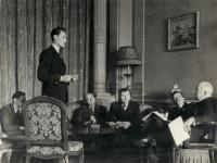 Karel Dufek (standing) with president Beneš in London exile. Adolf Vodička sitting far left.