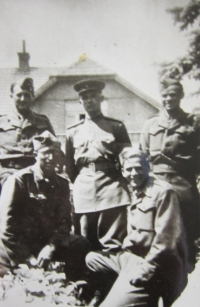 Soldiers of the Czechoslovak Corps in Prague, 1945 - Jan Ihnatík in the front on the right.