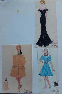 Sketches of dresses which were sent to England in 1939