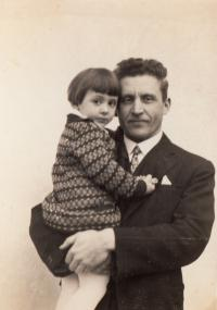 Three years old Magda with father