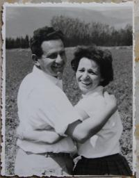 With her husband in the 1950s