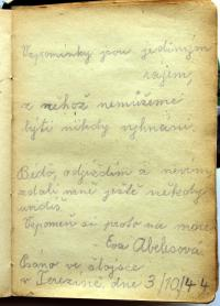 Page from the diary of her friend Eva Abelesová who has not returned