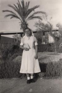During studies at nurse school, Haifa 1952