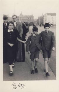 With governess and older brother Hanus in 1937