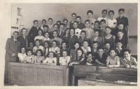 Secondary school class, spring 1942, Brod second from right in the second row up