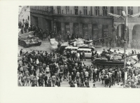 Peace Square at the Town Hall - tanks driving against ambulance cars