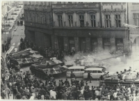 Destroyed arcades at the Peace Square - tanks crashed into the ambulances