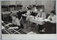 During the work in studio, on the right sits the director Josef Červinka and translator Jiří Josek