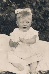 Dobromila baptised in the age of 9 months, 1933