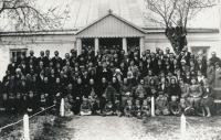 Gathering in front of the prayerhouse in Kupičov