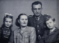 Witness´ family - on the left sister, mother, father, Josef; Stachy in the Prachatice region in 1948 or 1949