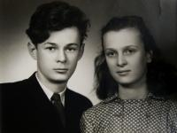 Joseph with his sister in Pilsen in 1955
