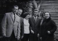 Family celebration just before Joseph's emigration, left Uncle Vitovec, in the middle of Josef; Masákova Lhota in the Prachatice region; not later than 1964