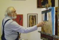 Mr. Čelakovský in his painting studio