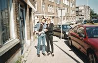 Ivan Landsmann and His Daughter Eva in Front of the House where Ivan Used to Live (Rotterdam, 1999)