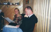 "With opera singer Magdalena Kožená in record studio in Prague - preparing of recording song ""S poduškou řípu pod hlavou"" - propably in 1998"