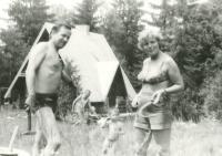 Anna Tesařová-Koutná with the family friend Jaroslav Šabata on holiday together