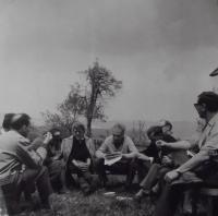 Meeting of foreign department employees in Věra Šťovíčková's summer cabin