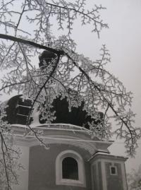 Lomec - kostel_zima
