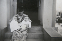 6 months old twins Zdena and Eva with their mother