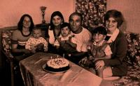 Celebrating Jiřina's 3rd birthday; from the left František's sister-in-law, his wife, František, Anna Marešová and his children Jiřina and Lenka, Rotava, 1976