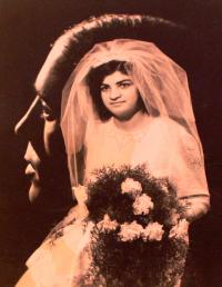 Wedding photo of František's wife Jiřina, Rotava, December 22, 1973