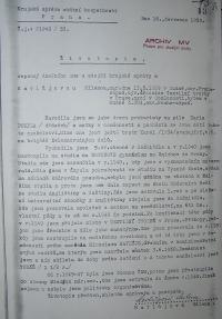 Havlůjová´s curriculum vitae written by State Secutity in 1953