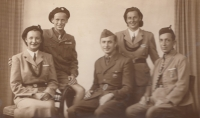 Members of Sokol – from the left, Miluška with her brother Karel, the witness's fiancé Miroslav Havlůj in the middlee (during his military service), her mother Emílie Pomplová and father Jaroslav Pompl in 1948