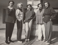 As an independent contractor of the Institute of Home and Fashion Culture; Miluška Havlůjová is the second from the left, 1951