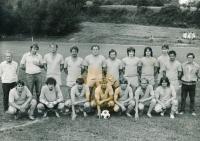 Ignác Žerníček (first on the left) with A-team Hanušovice, 1970s