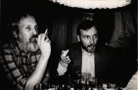 2. polovina 80. let, Mnichov, pamětník (vlevo) a Peter Genée, natáčení filmu Marléne