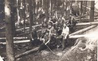 Students from DAMU on a work brigade in the forest, 1952 (J.Kolářová,R.Vodrážka,J.Dudek,I.Palec and a forester)