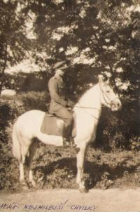 Luboš Hruška on horse, autumn 1948
